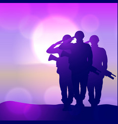 Silhouette a soldiers saluting against vector
