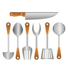 Silver kitchen tools icon image vector
