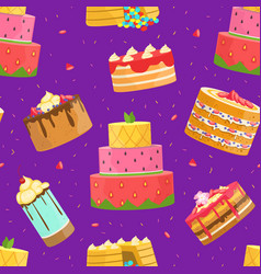 sweet desserts seamless pattern birthday party vector image