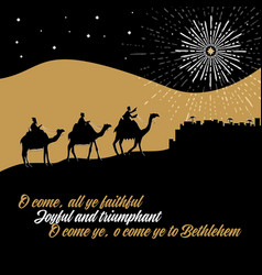 the wise men go to bethlehem to worship vector image