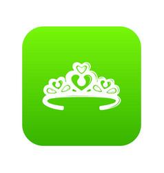 Tiara crown icon green vector
