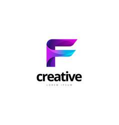 vibrant trendy colorful creative letter f logo vector image