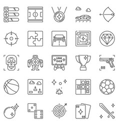 video games and entertainment outline icons vector image