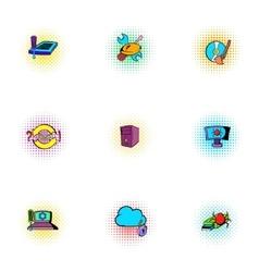 Virus icons set pop-art style vector image
