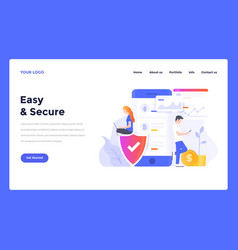 Web design flat modern template easy secure vector