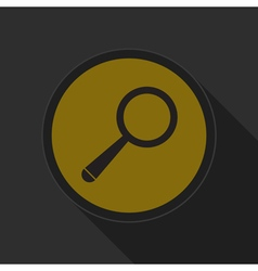 yellow round button with black magnifier icon vector image