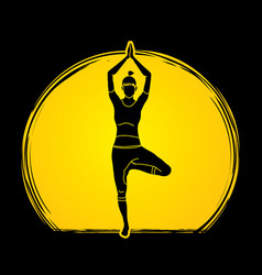 yoga pose designed on moonlight background vector image