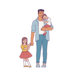 young father holding his vector image