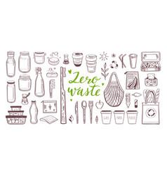 zero waste lifestyle hand drawn set vector image