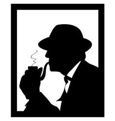 man smoking a pipe vector image vector image
