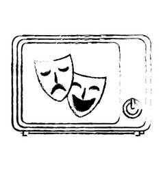Old tv with theater masks isolated icon vector
