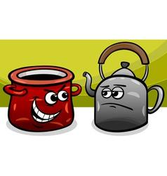 pot calling the kettle black cartoon vector image vector image