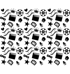 Seamless black and white cinema pattern vector image vector image