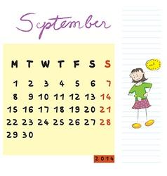 september 2014 kids calendar vector image vector image