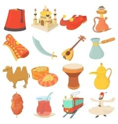 Turkey travel symbols icons set cartoon style vector image
