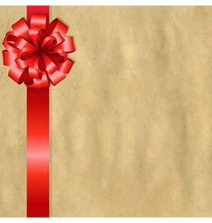 Vintage Paper With Red Bow vector image vector image