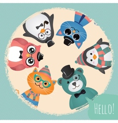 Hipster Fashion Retro Animals and Pets Background vector image