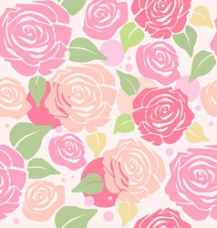 Seamless Pattern with Pastel Roses vector image vector image