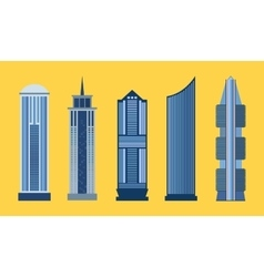 Skyscraper flat icon set isolated vector image vector image