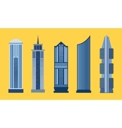Skyscraper flat icon set isolated vector image