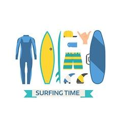 Surfing Equipment Set vector image vector image