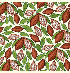 background pattern with cocoa beans vector image vector image