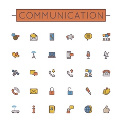 Colored Communication Line Icons vector image