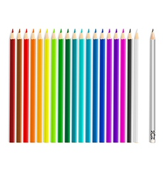 Colorful pencils on white background vector image vector image