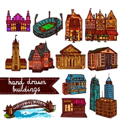 Sketch city building set color vector image vector image
