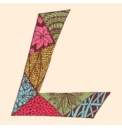 Vintage monogram L Doodle colorful alphabet vector image vector image