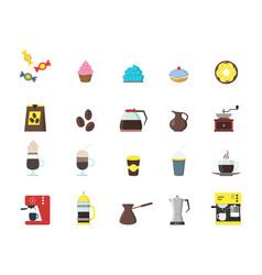 cartoon coffee shop color icons set vector image vector image