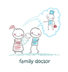 family thinks about the family doctor vector image