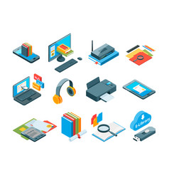 isometric symbols of online education icons of e vector image