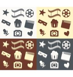 Simple cinema patterns vector image vector image