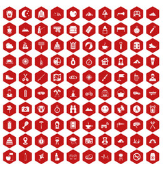 100 family camping icons hexagon red vector