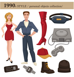 1990 fashion style man and woman personal objects vector
