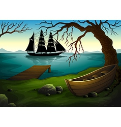 A black ship at the sea across the boat under vector