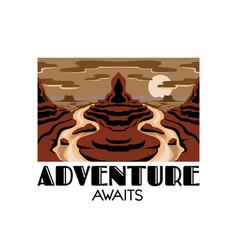 Adventure awaits hand drawn landscape desert vector