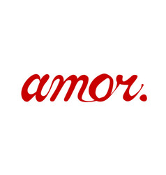 Amor love in spanish lettering text template vector
