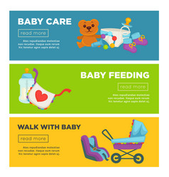 Baby care and newborn child motherhood web banners vector