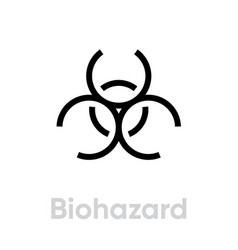 Biohazard sign icon editable line vector