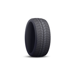 Black rubber car tire with realistic tread pattern vector