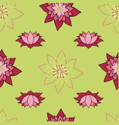 blooming lotus repeat design bright green vector image