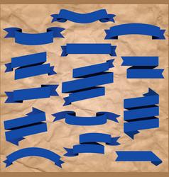 Blue web ribbons set vector