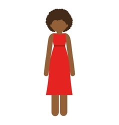 Brunette woman with dress and curly hair vector