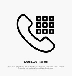 Call dial phone keys line icon vector
