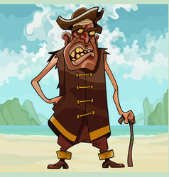 cartoon angry toothy man in pirate clothes vector image