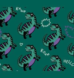 cartoon dinosaurs seamless pattern for kid vector image