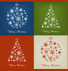 christmas trees and balls with snowflakes on vector image