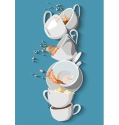 Coffee cups and Tea set eps10 vector image